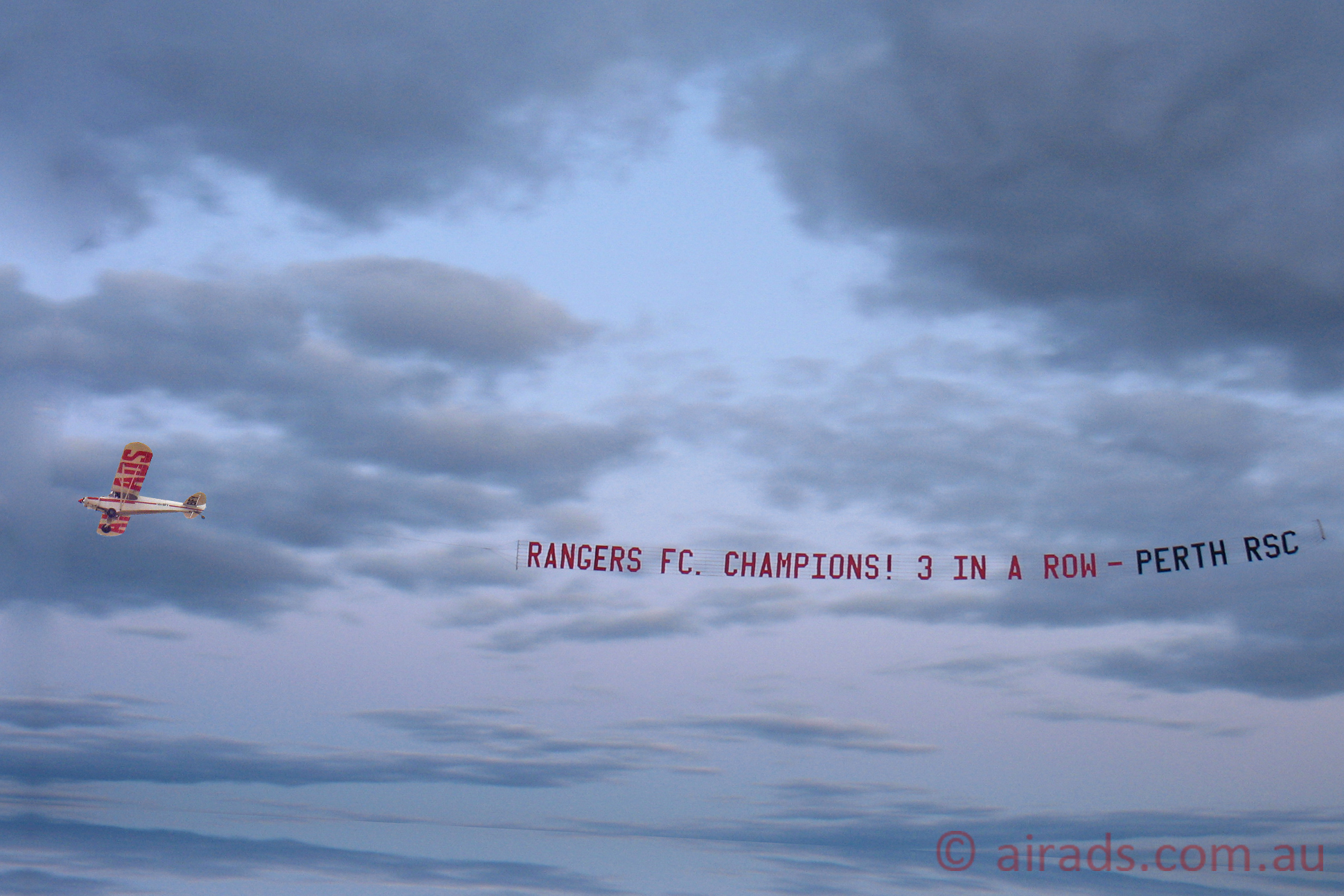 Rangers FC banner towing
